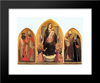 St. Juvenal Triptych: Modern Black Framed Art Print by Masaccio