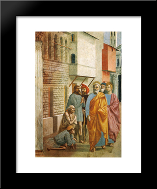 St.Peter Healing The Sick With His Shadow: Modern Black Framed Art Print by Masaccio