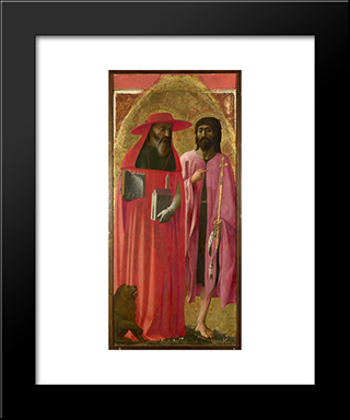 St Jerome And St John The Baptist: Modern Black Framed Art Print by Masaccio