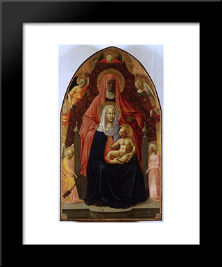 The Madonna And Child With St.Anna.: Modern Black Framed Art Print by Masaccio