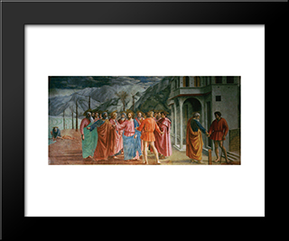 The Tribute Money: Modern Black Framed Art Print by Masaccio