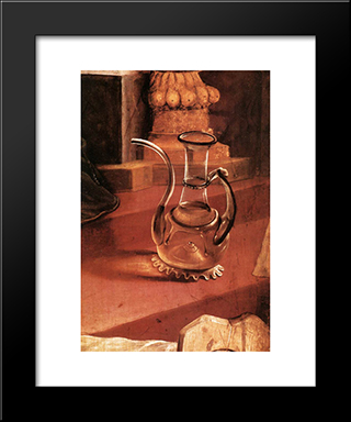 A Glass Jug (Detail From The Concert Of Angels From The Isenheim Altarpiece): Modern Black Framed Art Print by Matthias Grunewald