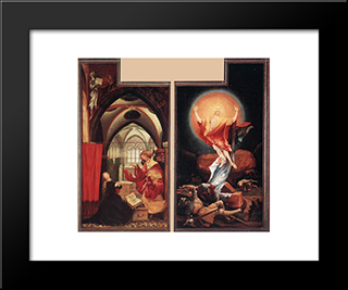 Annunciation And Resurrection: Modern Black Framed Art Print by Matthias Grunewald