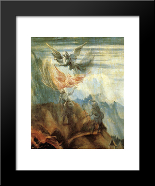 Annunciation To The Shepherds (Detail From The Annunciation From The Isenheim Altarpiece): Modern Black Framed Art Print by Matthias Grunewald