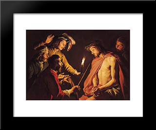 Christ Crowned With Thorns: Modern Black Framed Art Print by Matthias Stom