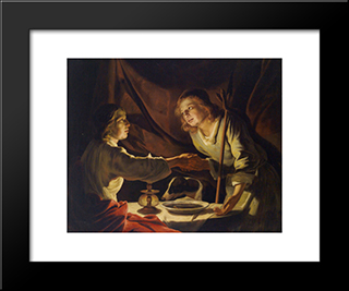 Esau Sold Jacob His Birthright And The Mess Of Pottage: Modern Black Framed Art Print by Matthias Stom