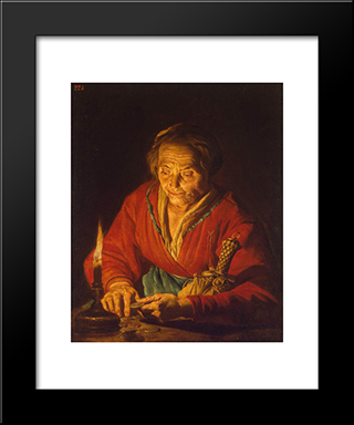 Old Woman With A Candle: Modern Black Framed Art Print by Matthias Stom