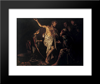 Saul And The Witch Of Endor: Modern Black Framed Art Print by Matthias Stom