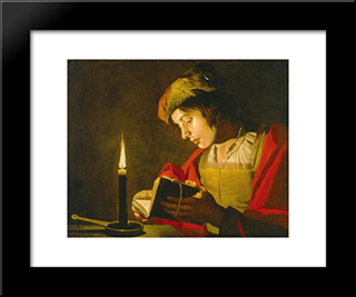 Young Man Reading By Candle Light: Modern Black Framed Art Print by Matthias Stom