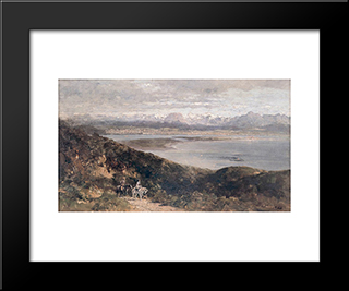 Lilacs And Mountains: Modern Black Framed Art Print by Maurice Braun