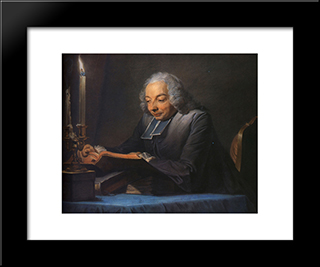 Abbe Jean-Jacques Huber: Modern Black Framed Art Print by Maurice Quentin de La Tour