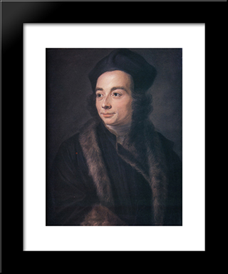 Abbot Jean Jacques Huber: Modern Black Framed Art Print by Maurice Quentin de La Tour