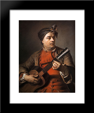 Jacques Dumont Le Romain Playing The Guitar: Modern Black Framed Art Print by Maurice Quentin de La Tour