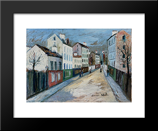 A Street In A Suburb Of Paris: Modern Black Framed Art Print by Maurice Utrillo