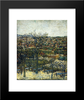 Benches At Montmagny (Val - D'Oise): Modern Black Framed Art Print by Maurice Utrillo