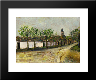 Church And Street In Montmagny: Modern Black Framed Art Print by Maurice Utrillo