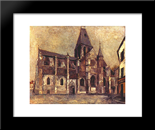 Church At Villiers Le Bel: Modern Black Framed Art Print by Maurice Utrillo