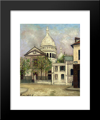 Church Of St. Pierre And The Dome Of Sacre Coeur: Modern Black Framed Art Print by Maurice Utrillo