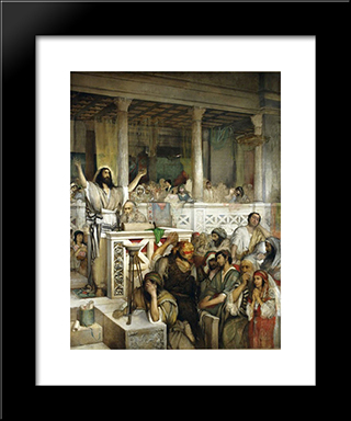 Christ Preaching At Capernaum: Modern Black Framed Art Print by Maurycy Gottlieb