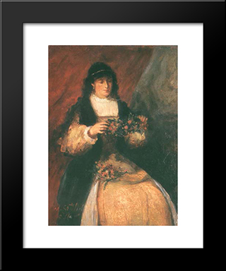Girl With Flowers: Modern Black Framed Art Print by Maurycy Gottlieb
