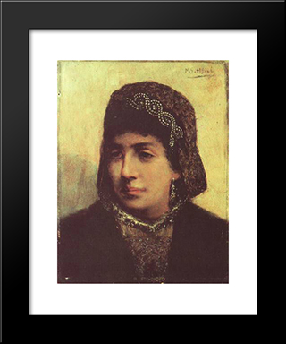 Head Of A Jewish Bride: Modern Black Framed Art Print by Maurycy Gottlieb