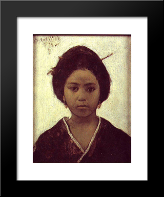 Japanese Woman: Modern Black Framed Art Print by Maurycy Gottlieb