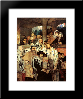 Jews Praying In The Synagogue On Yom Kippur: Modern Black Framed Art Print by Maurycy Gottlieb