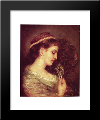 Lady With A Fan: Modern Black Framed Art Print by Maurycy Gottlieb