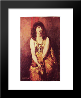 Odalisque: Modern Black Framed Art Print by Maurycy Gottlieb