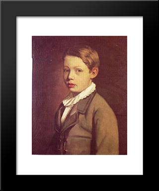 Portrait Of A Boy From The Gottlieb Family: Modern Black Framed Art Print by Maurycy Gottlieb
