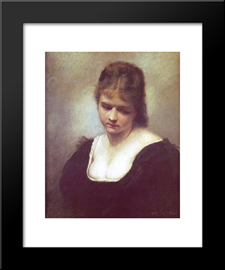 Portrait Of A Woman: Modern Black Framed Art Print by Maurycy Gottlieb
