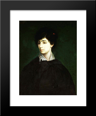 Portrait Of A Young Jewish Woman: Modern Black Framed Art Print by Maurycy Gottlieb