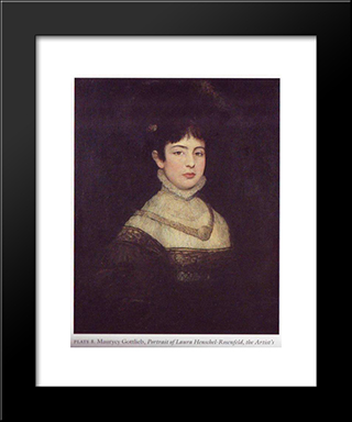Portrait Of Laura Henschel-Rosenfeld: Modern Black Framed Art Print by Maurycy Gottlieb
