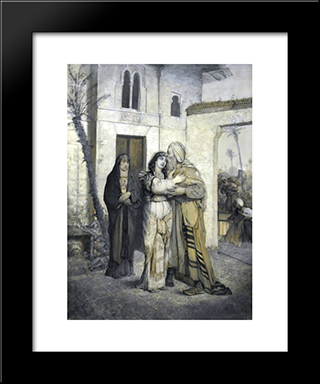 Recha Welcoming Her Father: Modern Black Framed Art Print by Maurycy Gottlieb