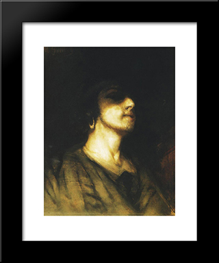 Self-Portrait: Modern Black Framed Art Print by Maurycy Gottlieb