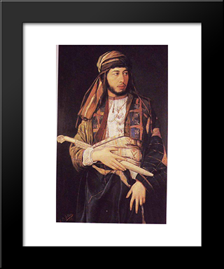 Self-Portrait In Arab Dress: Modern Black Framed Art Print by Maurycy Gottlieb