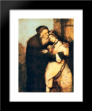 Shylock And Jessica: Modern Black Framed Art Print by Maurycy Gottlieb