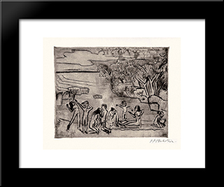 Am Ufer (At The Riverbank): Modern Black Framed Art Print by Max Pechstein