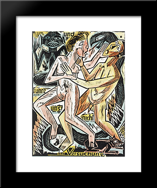 And Lead Us Not Into Temptation: Modern Black Framed Art Print by Max Pechstein