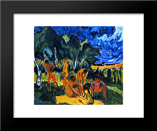 Badende In Moritzburg: Modern Black Framed Art Print by Max Pechstein