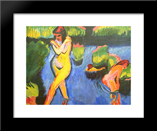 Bank Of A Lake: Modern Black Framed Art Print by Max Pechstein