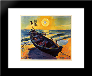 Boat At Sunrise: Modern Black Framed Art Print by Max Pechstein