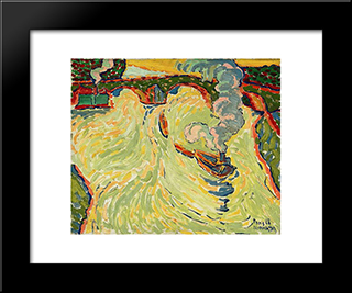 Bridge Over The Seine With Small Steamer: Modern Black Framed Art Print by Max Pechstein