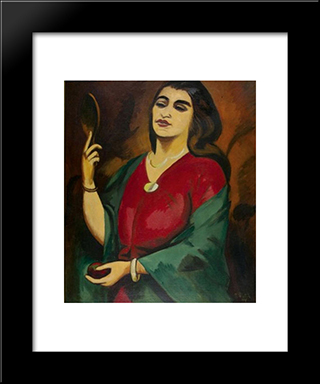Charlotte Pechstein With Mirror: Modern Black Framed Art Print by Max Pechstein
