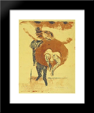 Dancer (Pair Of Dancers): Modern Black Framed Art Print by Max Pechstein