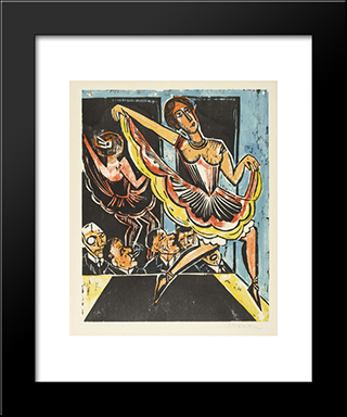 Dancer In The Mirror: Modern Black Framed Art Print by Max Pechstein