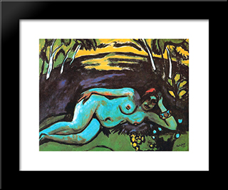 Dawn: Modern Black Framed Art Print by Max Pechstein