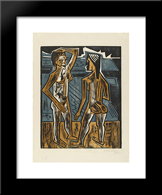 Dialogue: Modern Black Framed Art Print by Max Pechstein