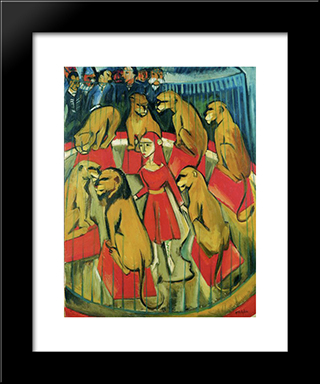 Die Lowenbandigerin: Modern Black Framed Art Print by Max Pechstein