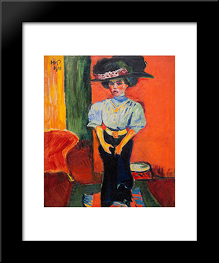 Ein Fruhes Damenbild: Modern Black Framed Art Print by Max Pechstein